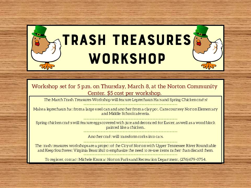 Photo of a flyer advertising Trash Treasures Workshop