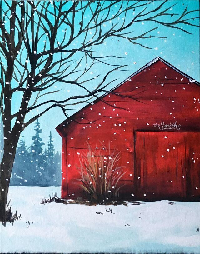 Photo of a barn in snow that participants will paint at event