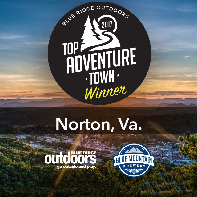 Photo of logo announcing Norton to be the Blue Ridge Outdoors Top Adventure Town Winner