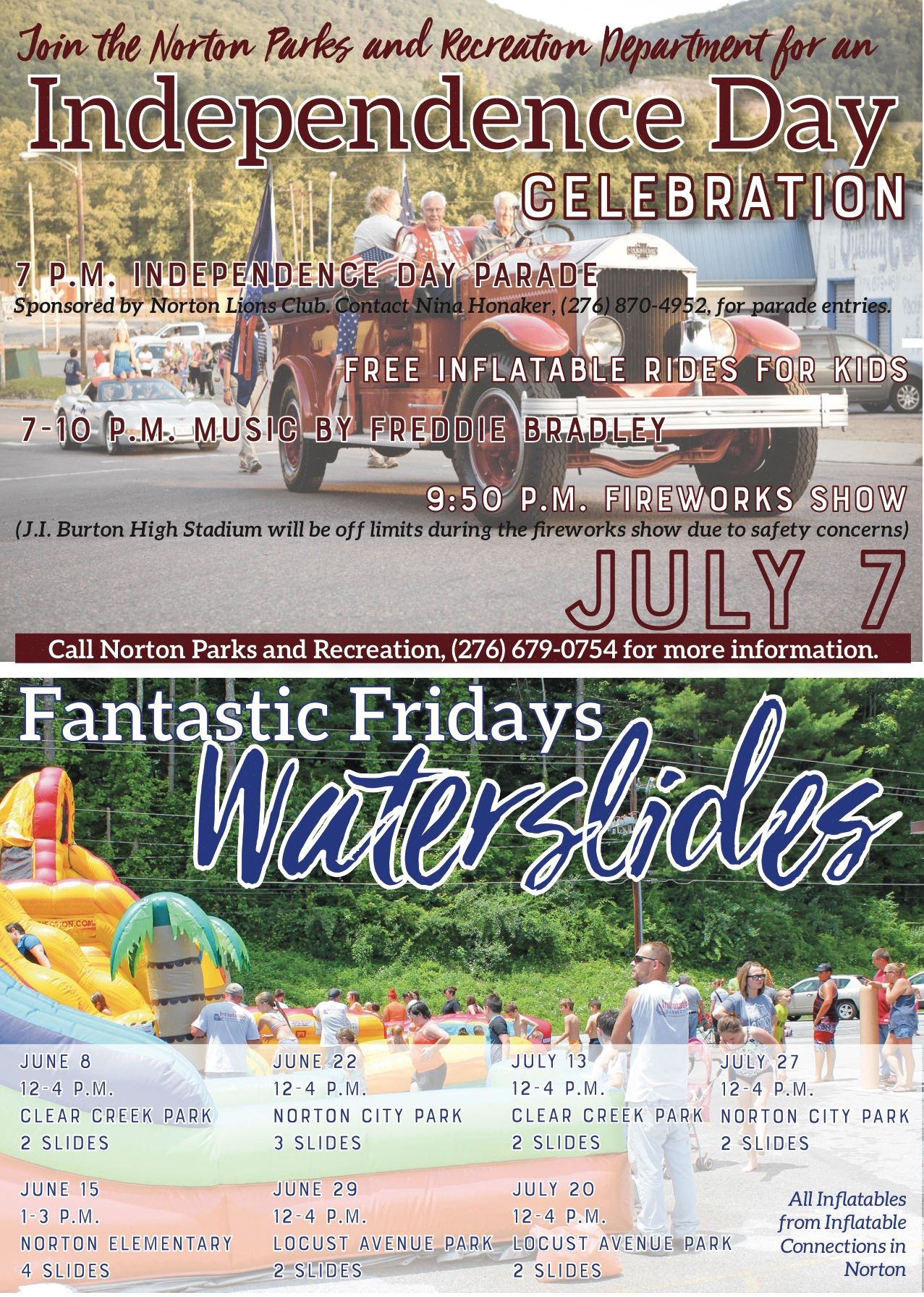 Photo of a flyer advertising waterslides and Independence Day Celebration