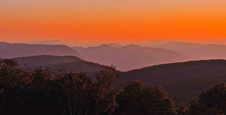 Picture of sunset from High Knob observation tower